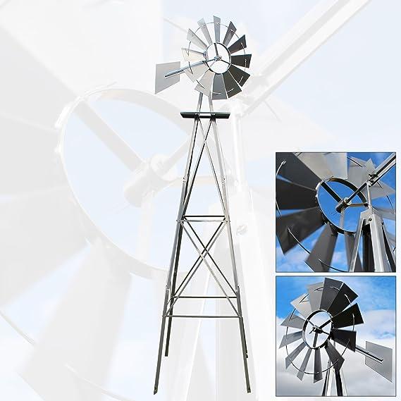 US molino de viento 245cm plateado estilo americano, rueda de viento con rodamiento de bolas: Amazon.es: Jardín
