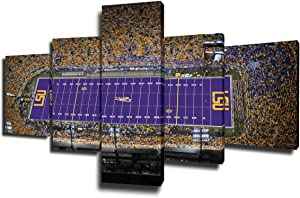 Wall Art for Living Room Tiger Stadium (LSU) Paintings American Football Pictures 5 Piece Canvas Modern Artwork Home Decor Giclee Wooden Framed Gallery-wrapped Stretched Ready to Hang(50''Wx24''H)