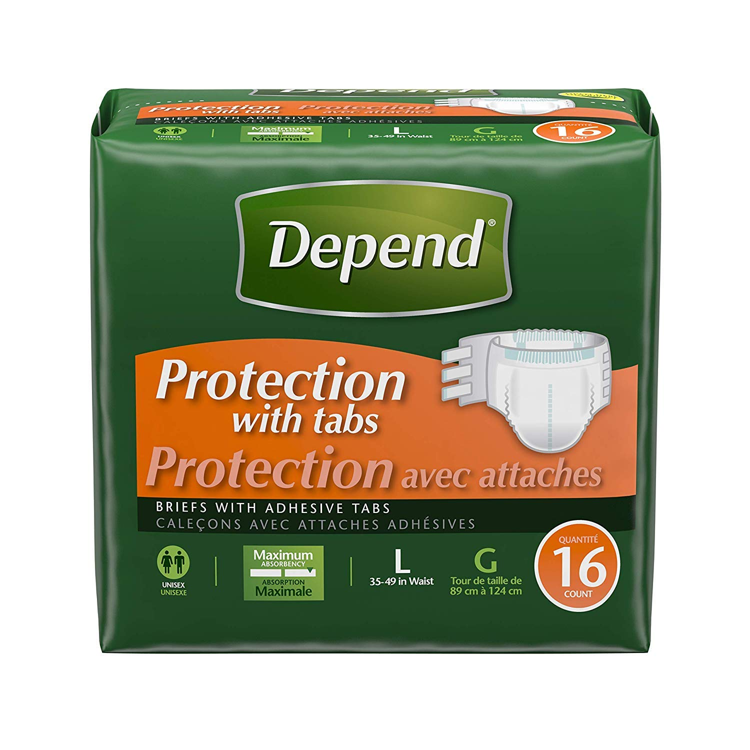 Depend Incontinence Protection with Tabs, Maximum Absorbency, Large, 16 Count (Pack of 3) (2 Case (Large/X-Large, Pack of 3))