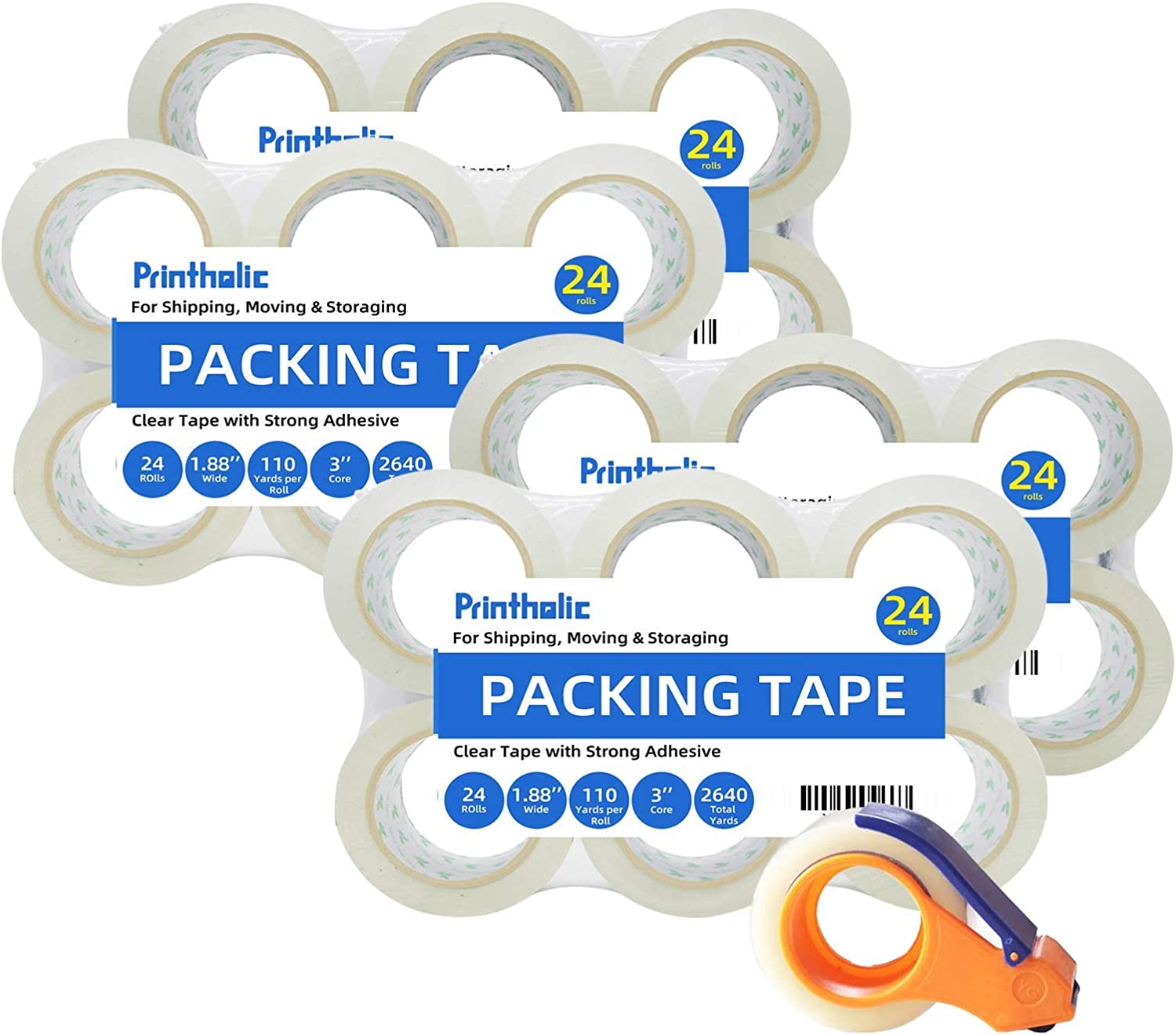 Printholic Packing Tape 24 Rolls 1.88 Inch x 110 Yards (with 1 Dispenser) Stronger and Thicker, Clear Packing Tape for Moving Packaging Shipping Office Storage, Transparent Tape Refills for Dispenser