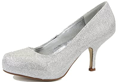 5b1a5dcf484 shoeFashionista Womens Bridal Silver Satin Party Ladies Wedding Shoes   Amazon.co.uk  Shoes   Bags