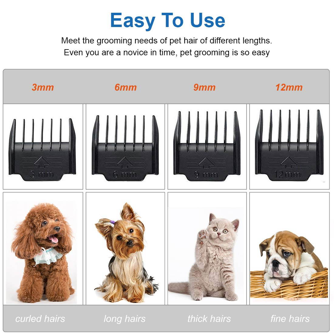 YIDON Dog Clippers Dog Grooming kit Cordless Adjustable Pet Clippers Dog Hair Trimmer Rechargeable Dog Shears Pet Grooming Professional Hair Clippers Low Noise for Small Large Dogs,Cats,All Pets