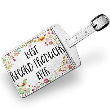 Amazon com | Luggage Tag Happy Floral Border Record Producer