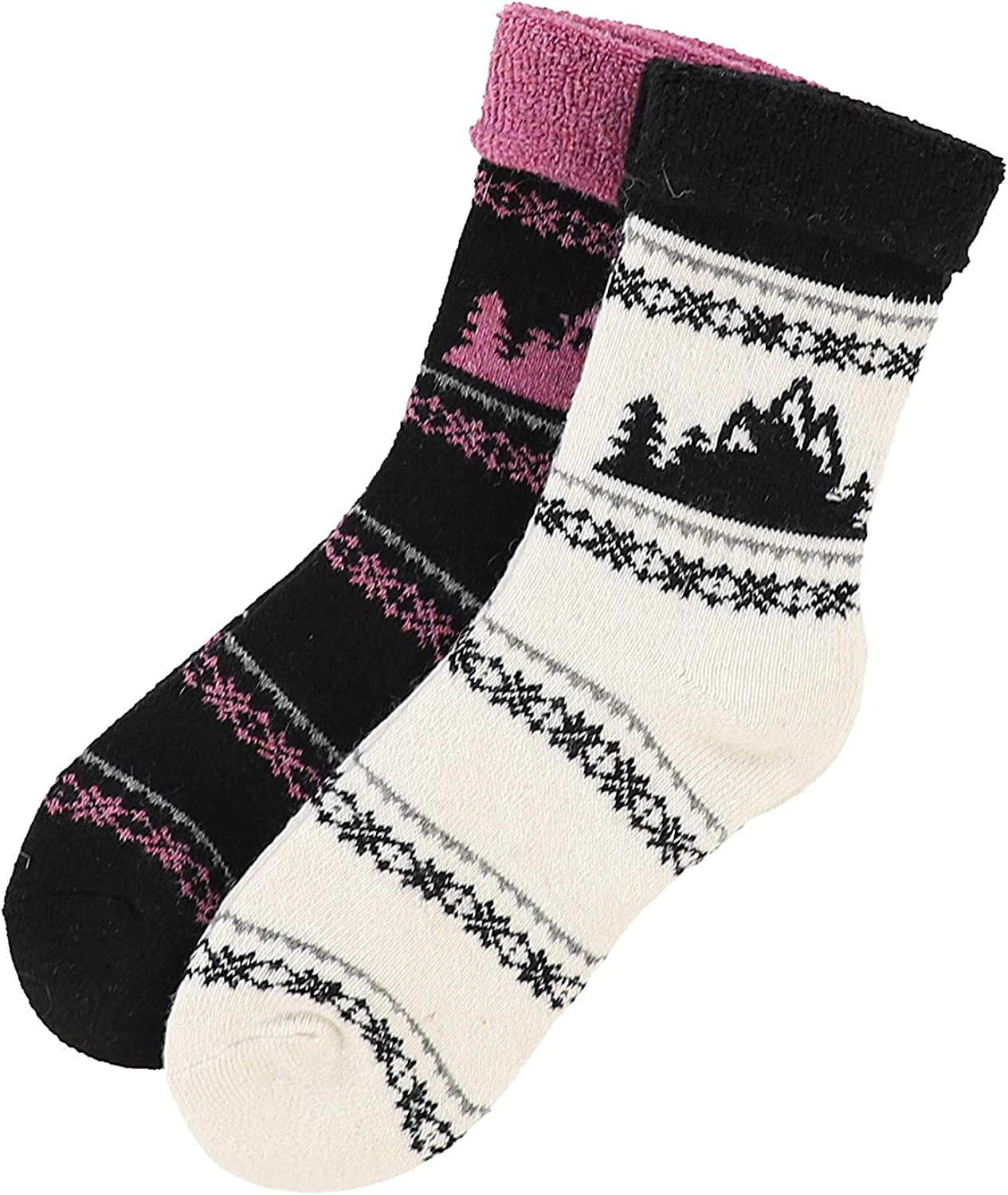Born Womens Extreme Heat Cabin Sock Turn Cuff Full Cushion Snowflakes and Trees 2 Pairs Shoe Size 4-10