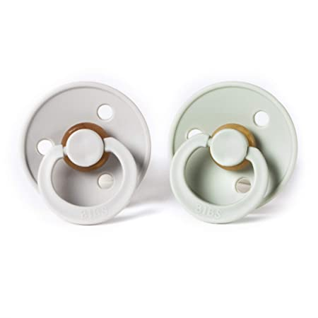 BIBS BPA-Free Natural Rubber Baby Pacifier | Made in Denmark (Sage/Sand, 6-18 Months) 2-Pack