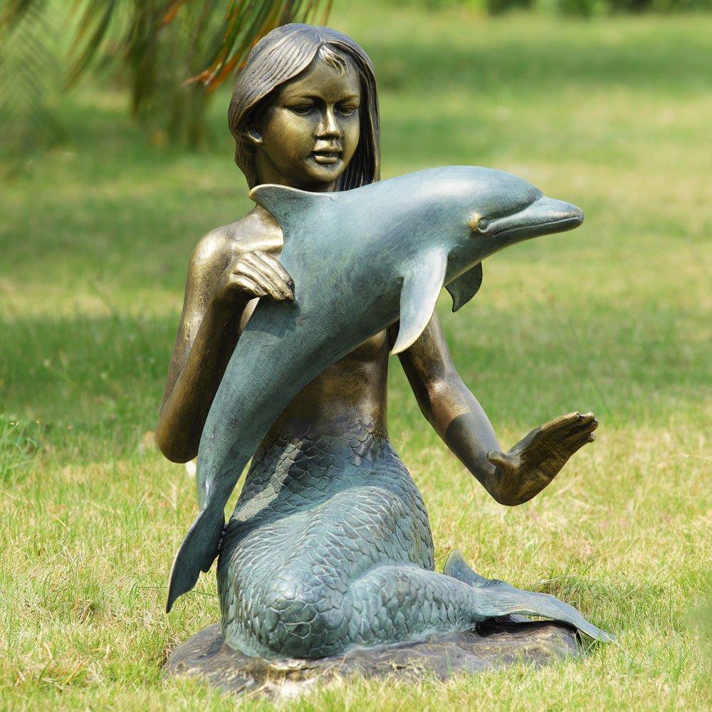 punto vendita SPI-Statua decorativa decorativa decorativa da giardino, Sirenetta e delfini  presa