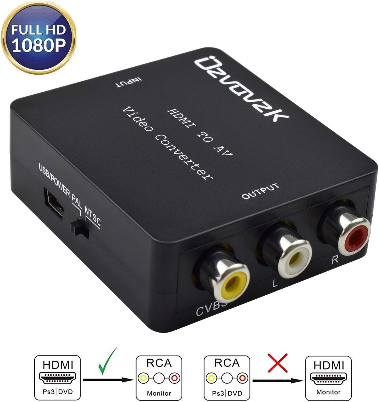 Ozvavzk HDMI a AV,HDMI a RCA Adaptador Compuesto HDMI Audio Vídeo Convertidor Soporte PAL/NTSC Formato de TV Interruptor