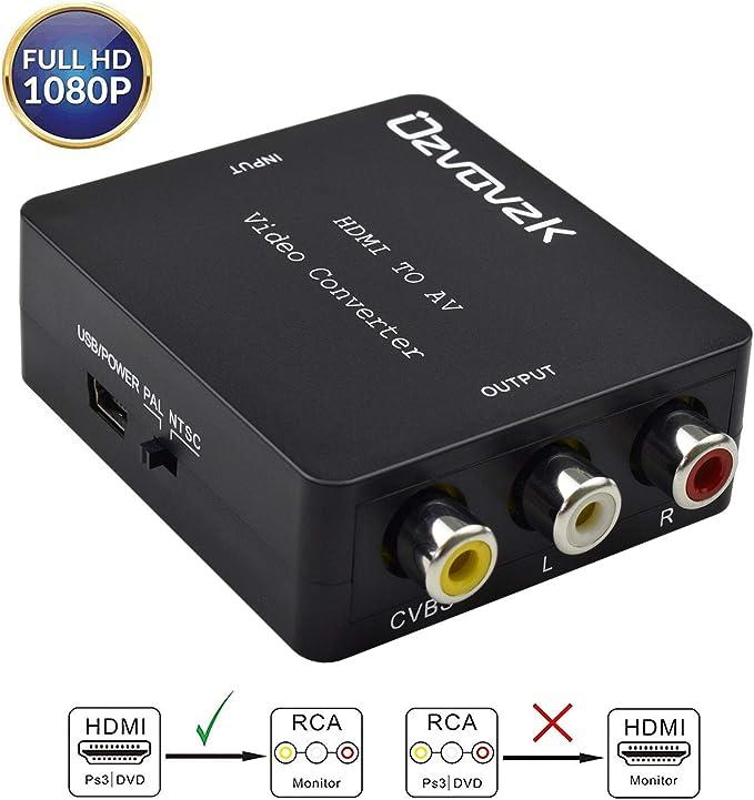 Ozvavzk HDMI a AV,HDMI a RCA Adaptador Compuesto HDMI Audio Vídeo Convertidor Soporte PAL/NTSC Formato de TV Interruptor: Amazon.es: Electrónica