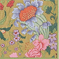 Caspari Gold, Chinese Silk Paper Cocktail Napkins, 20 Per Package, Count