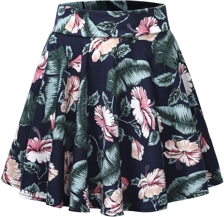 Urban CoCo Women's Floral Print Flared Mini Skater Skirt