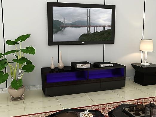 Grande negro de alta brillante luz LED TV unidad con cajones para tamaños de pantalla 32 A 70 pulgadas: Amazon.es: Jardín