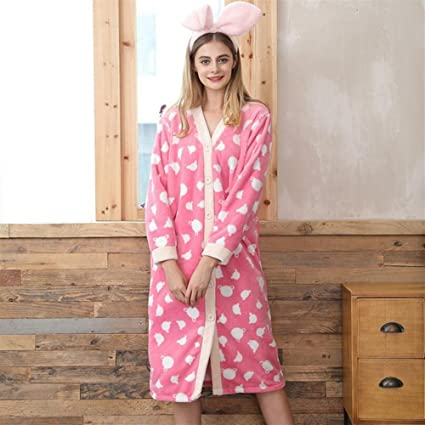 Yhcean Toalla de baño Lovely Women Albornoz Coral Fleece con Mangas largas, camisón, Pijamas