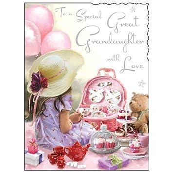 Birthday Greetings Card Jj1429 Special Great Granddaughter Tea