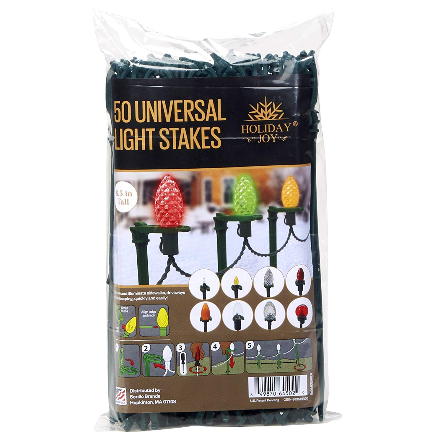Holiday Joy - 50 Universal Light Lawn Stakes for