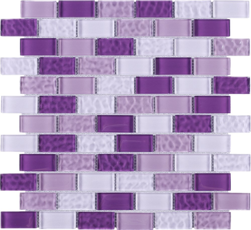 TRCEG-03 1x2 Brick Purple Glass Mosaic Tile Subway Tile Sheet-Kitchen and Bath backsplash Wall Tile (10 Sheets)