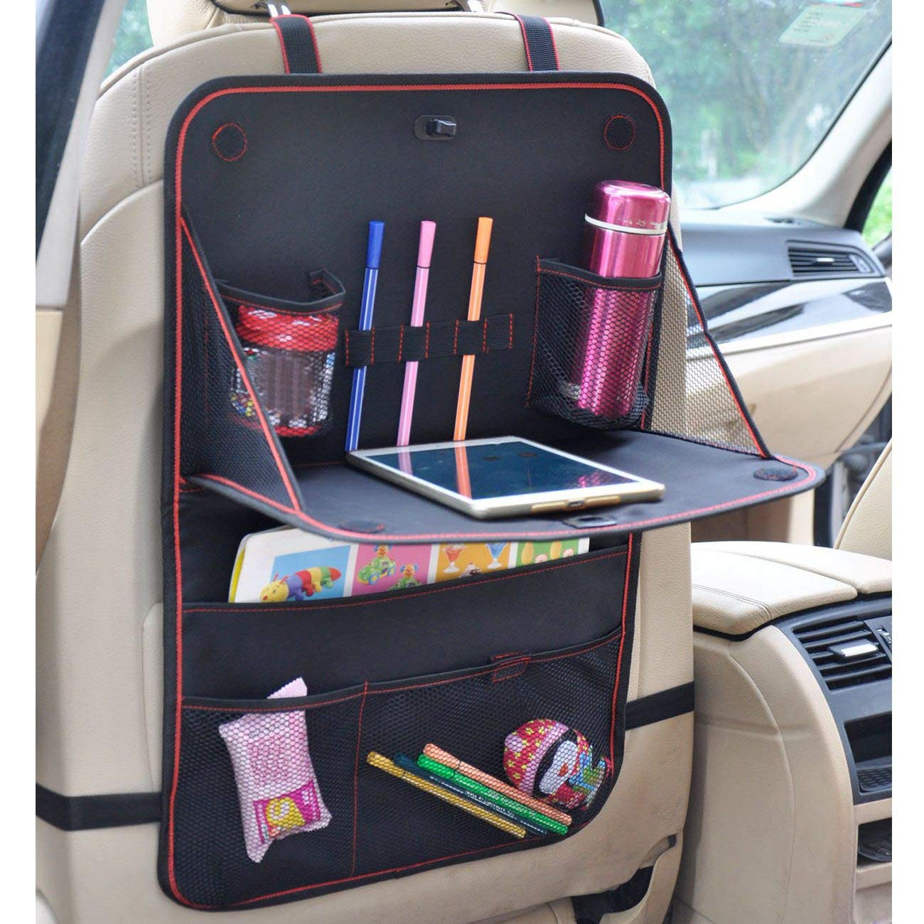 Seat Back Protectors HONCENMAX Car Seat Back Organizer Foldable Dining Table 600D Oxford cloth Multi Pockets Kick Mat Laptop Holder Tray