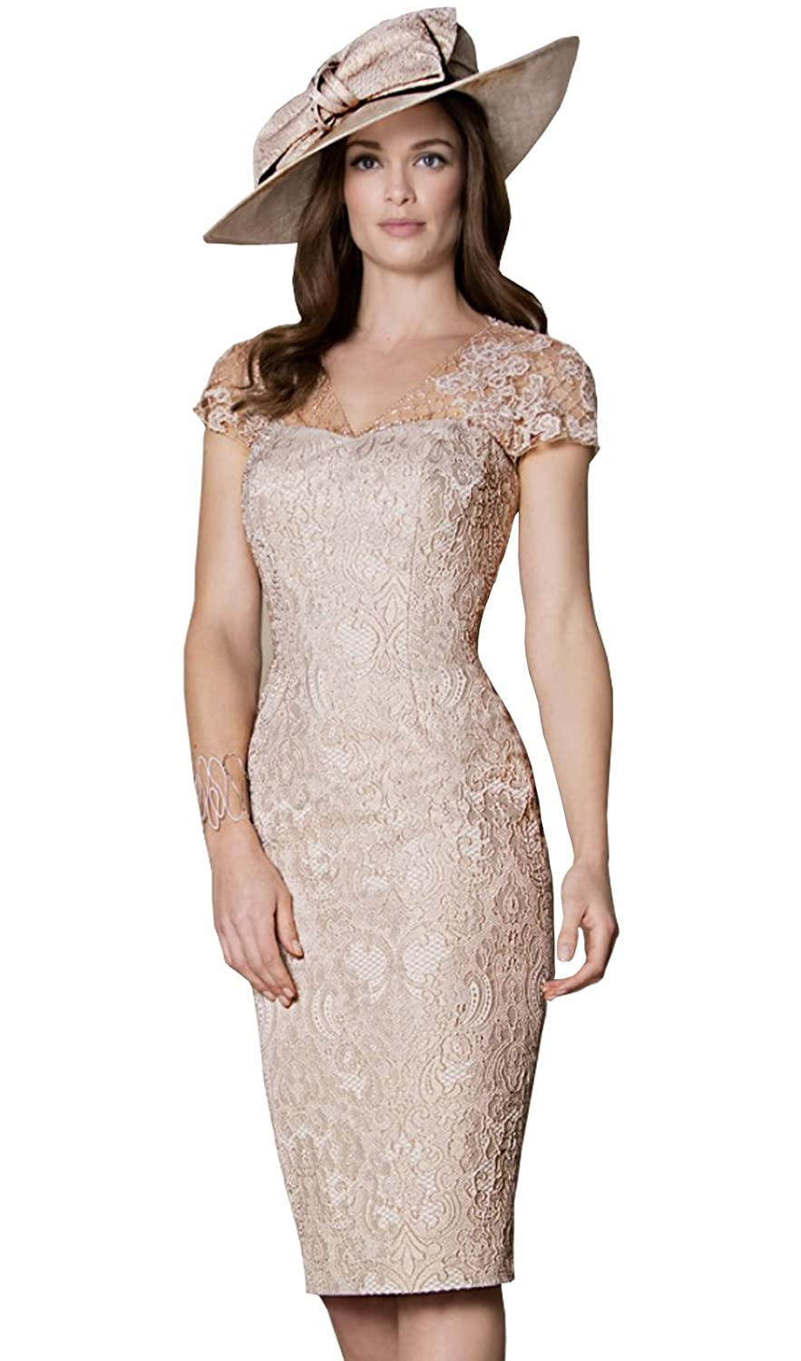 cc72536143 Amazon.com  Newdeve Women Light Champagne Lace Knee Length Formal Dresses   Clothing