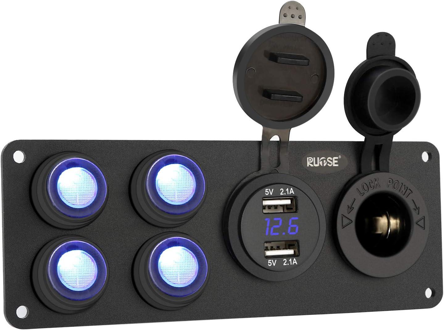 Rupse Panneau de Chargeur Prise Double USB Voiture QC3.0 avec Allume Cigare 12V Adaptateur Socket Commutateur Ind/épendant pour V/éhicules 12V-24V Bateau Moto Camion Camping-car Caravane LED Voltm/ètre
