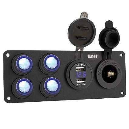 Cargador doble USB para coche, panel de interruptores con divisor para toma de mechero de 12 V, voltímetro de LED y panel de toma impermeable para 12 ...