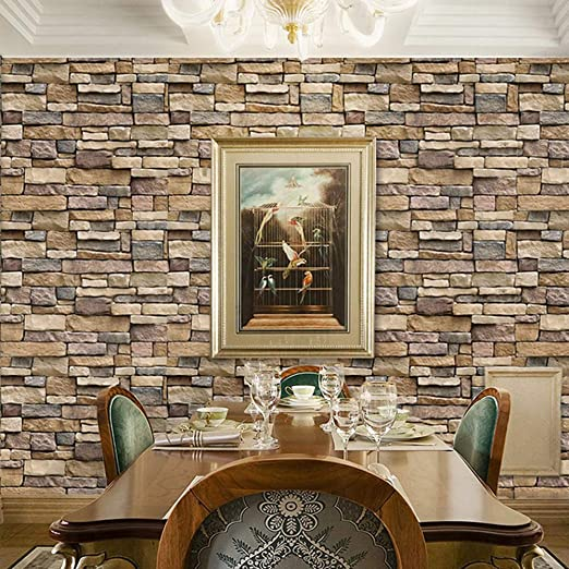 Stone Brick Wallpaper Peel And Stick Wallpaper Cleanable 3d Brick Wallpaper Self Adhesive Wallpaper Countertop Removable Wallpaper For Home Decoration Stone Brick Wallpaper 17 71 393 7 Amazon Com