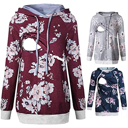 7b299cbe5d77a Nacome Breastfeeding Shirts for Women,Women's Maternity Nursing Floral  Hoodie Long Sleeve Breastfeeding Sweatshirt (