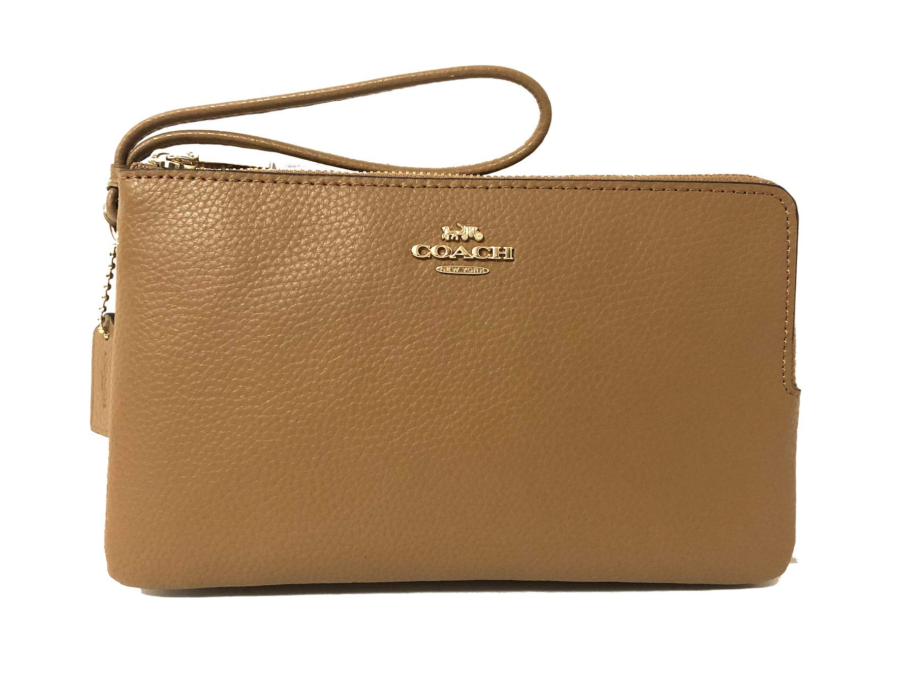 Coach F87587 Double Zip Pebble Leather Wristlet Wallet (Light Saddle) by Coach