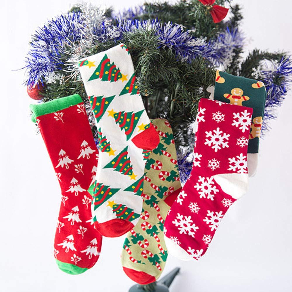 Christmas Long Socks,Women Cotton Xmas Tree Multi-Color Printed Leg Warmer Winter Warm Socks (Free Size, D) by Leewos (Image #3)