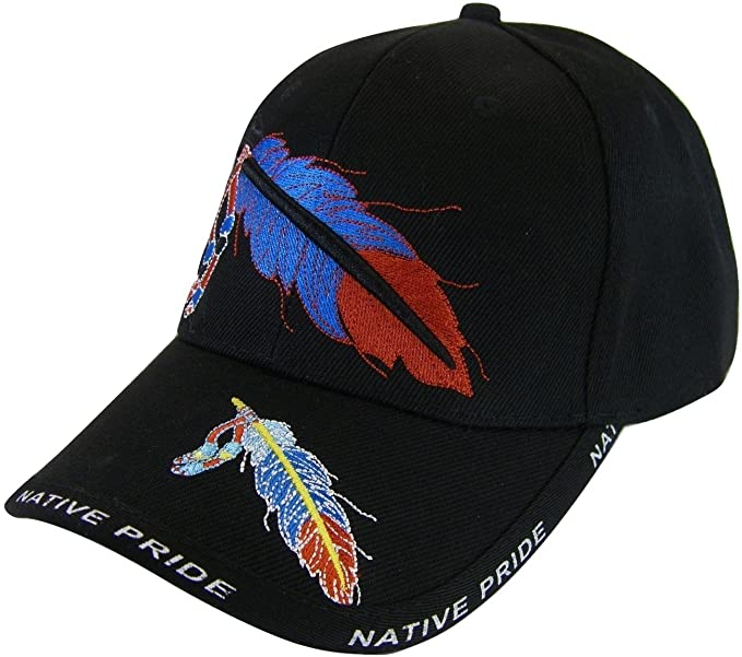 Native Pride Feather Men s Adjustable Baseball Cap (Black) at Amazon ... 9ff10a4561ac