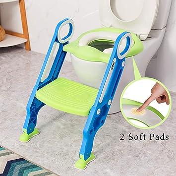 VETOMILE Asiento de Orinal Ajustable para Bebés/Niños, Aseo Escalera de Inodoros para Entrenamiento de Baño para Niños con Cojín de Esponja, Silla de Formación de WC para Bebés, Color Azul y Verde: