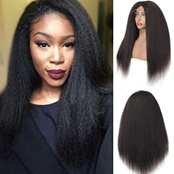 033733cd41 Amazon.com   Xtrend 130% Density Yaki Straight Lace Front Wigs Brazilian  Virgin Human Hair Wig Natural Black Color Italian Kinky Frontal Lace Wig  for Black ...
