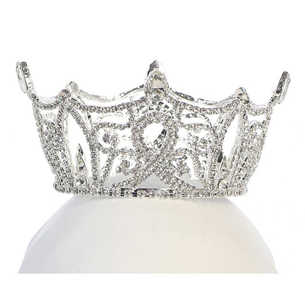 Angels Garment Girls Silver Tone Rhinestone Crown Tiara Headpiece