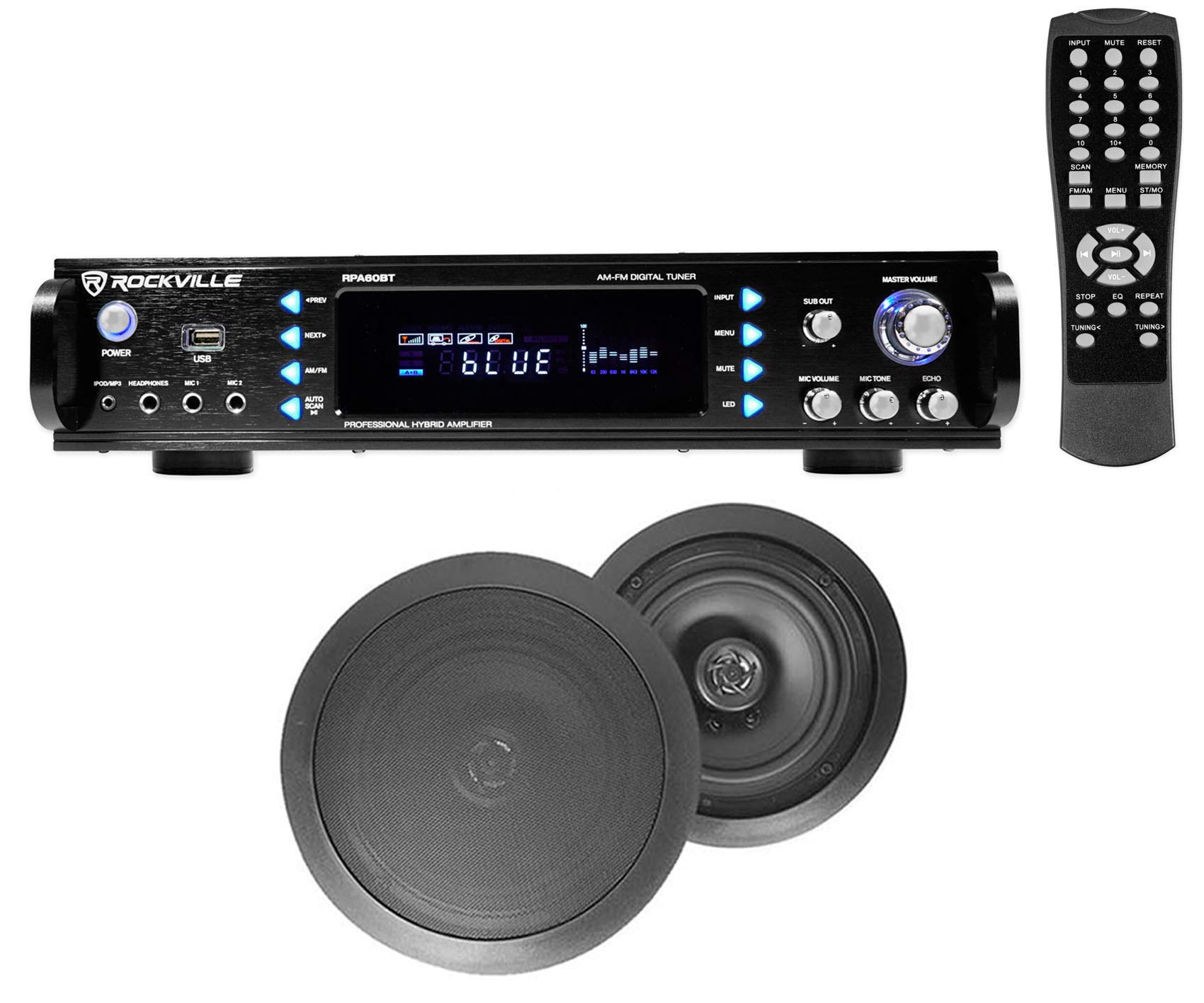 RPA60BT Home Theater Bluetooth Receiver + (2) 8'' Black in-Ceiling Speakers by Rockville