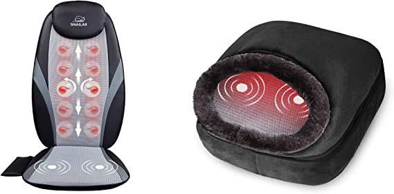 Snailax Shiatsu Massage Cushion 3-in-1 Foot Warmer Bundle| Heating Massage Chair for Back and Vibration Foot Massager with Heat