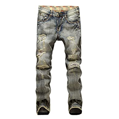 b0b6ffe80d8 Evelin Lee Men s Ripped Slim Fit Straight Denim Jeans Jogger Pants Vintage  Style with Broken Holes