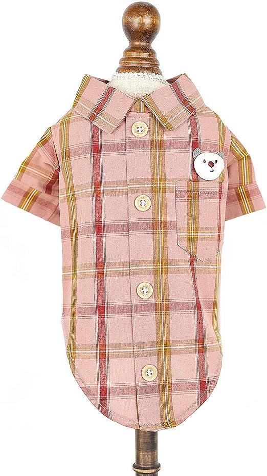 SMALLLEE_LUCKY_STORE Ropa para perro o gato a cuadros camisa niño niña cachorro chaleco verano: Amazon.es: Hogar