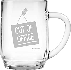 Fineware Out of Office Funny Beer Mug - 19.5 oz Large Glass Freezer Safe Beer Mug