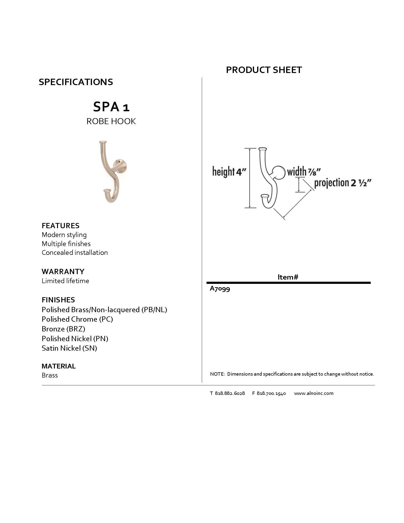 Alno A7099-SN Spa 1 Modern Robe Hooks, Satin Nickel
