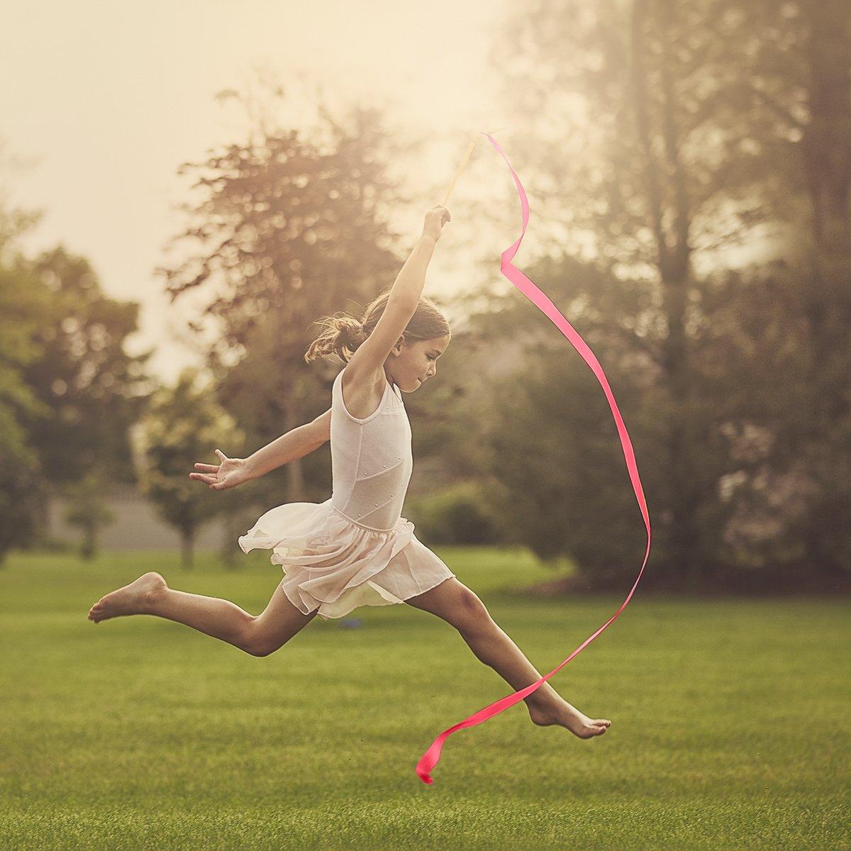 66 Rhythmic Artistic Twirling Ribbons with Non-Slip Handle PAMASE 16 Packs Kids Dancing Gymnastics Ribbon Wands