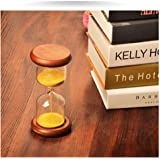 XDOBO Imported Hand-blown Hourglass in Wood Stand, Indoor Décor Sand Timer, Measures 2 Minutes - Golden Ball