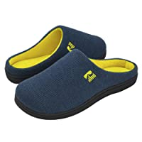 RockDove Two-Tone Memory Foam Slippers for Men, Breathable Waffle Texture Spring Summer House Shoes w/ Indoor Outdoor Sole