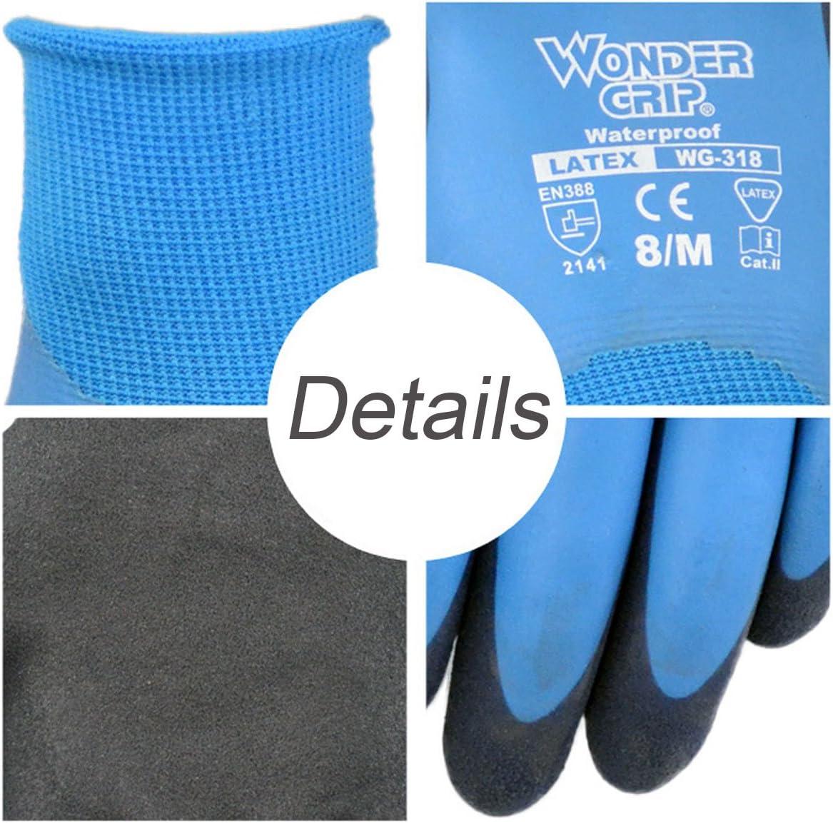 Wonder agarre notebookbits impermeabilidad guantes de l/átex de trabajo de Nylon guante de jardiner/ía