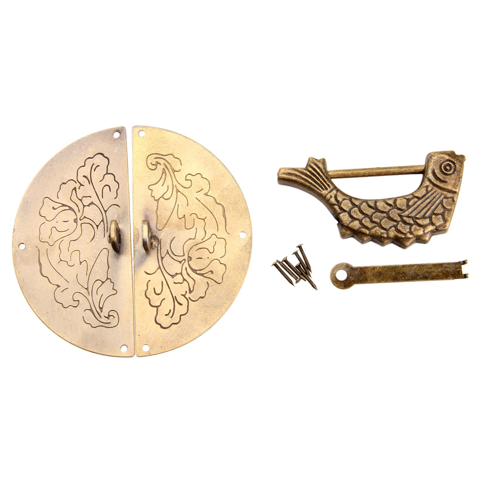 Dophee 1Set Chinese Old Jewelry Box Chest Door Knock Pull Handle Hasp Latch and Fish Lock
