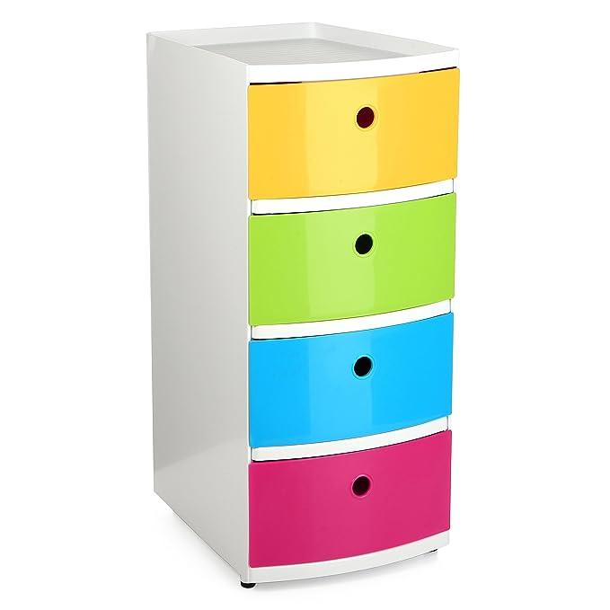 TATAY 1200002 - Torre de Ordenación Kids - Torre con 4 Cajones Tamaño Din-A4, Multicolor, 26 x 33 x 58 cm