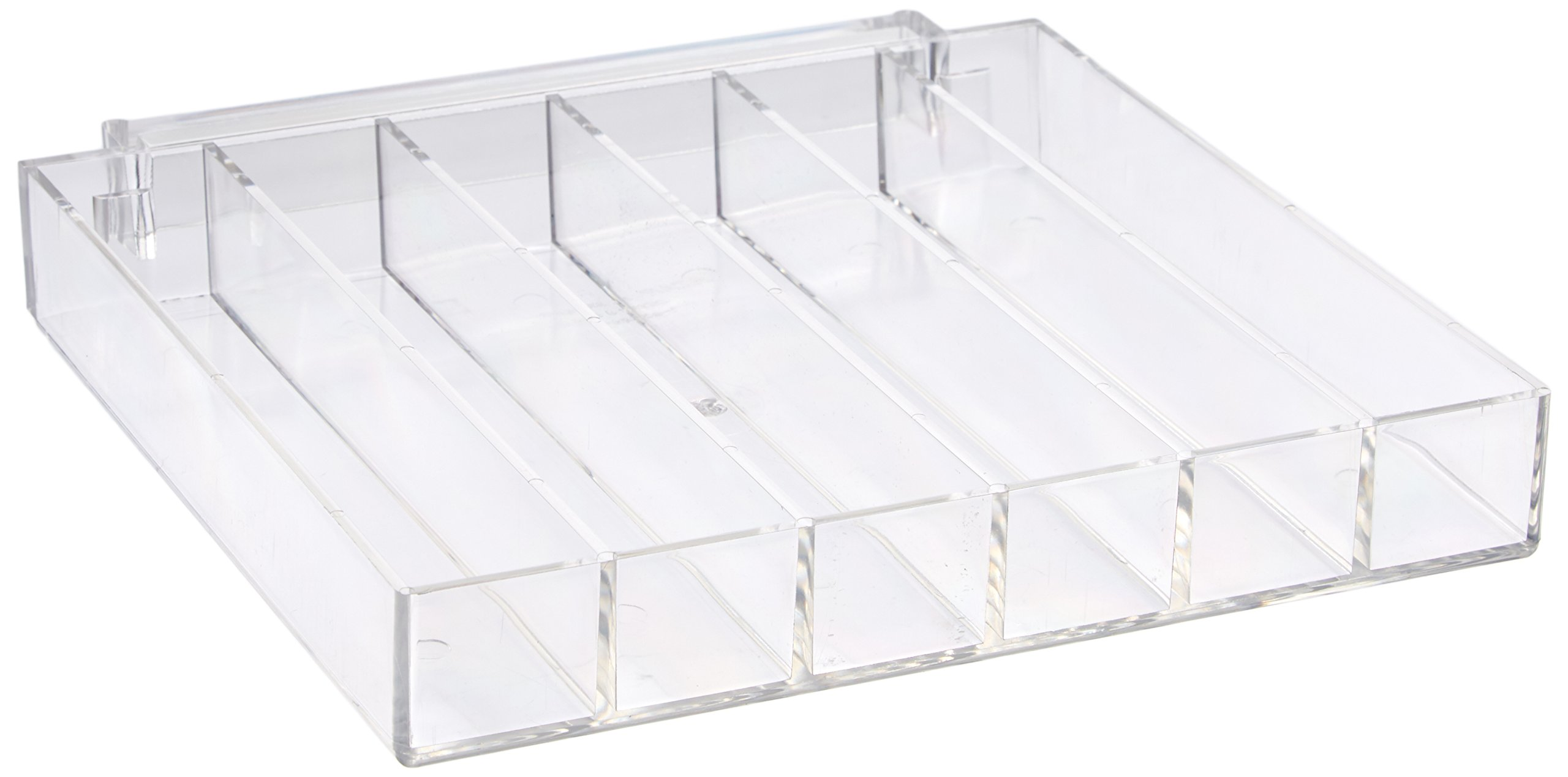 "Azar Displays 225560 8.625"" W x 7.5"" D x 1.25"" H 6-Compartment Tray - Each Slot Measures 1.25"" W x 7.25""D (2 Pack)"