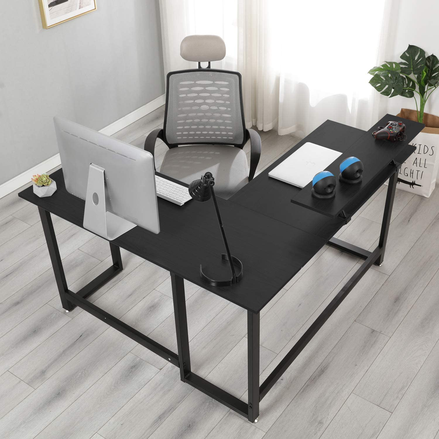 NeedHome L-Shaped Desk 55inches Folding Computer Desk Office L Corner Computer Table Workstation One-Step Assembly,Black AC11-CB-HCA