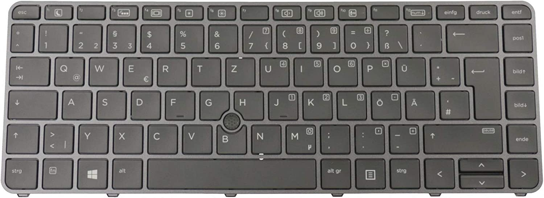 ipc-computer Tastatur DE deutsch schwarz//schwarz gl/änzend mit Backlight und Mouse-Stick Original f/ür HP EliteBook 840 G3 Serie
