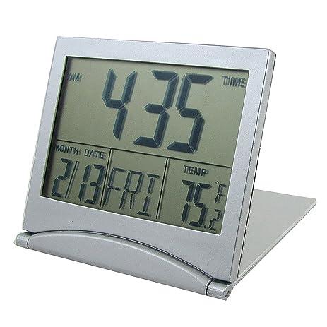 Foldable Desktop Tabletop Calendar Temperature Digital Alarm Clock