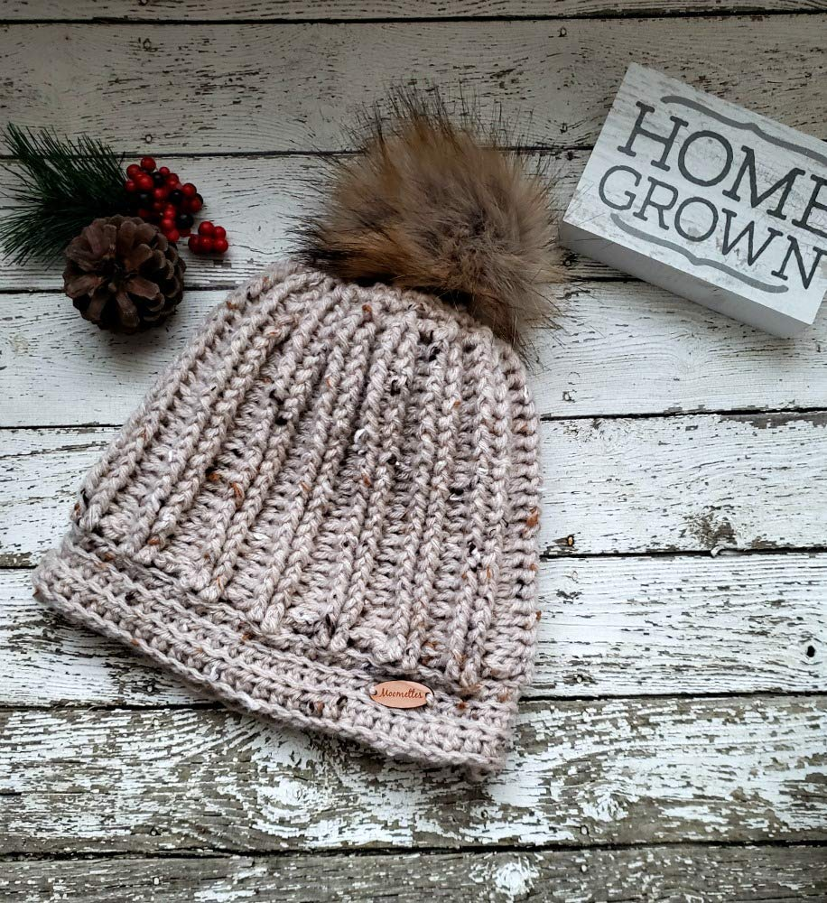 7bff76bda26 Amazon.com  Women s Ribbed Beanie Winter Pom Pom Hat with Wood Button  Oatmeal Beige Tweed Wool Blend Faux Fur Pompom  Handmade
