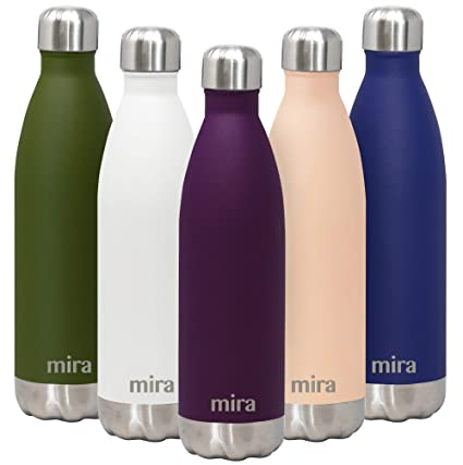 MIRA- Botella de agua de acero inoxidable aislada al vacío, con doble pared a prueba de fugas, mantiene las bebidas frías 24 horas o calientes 12 ...