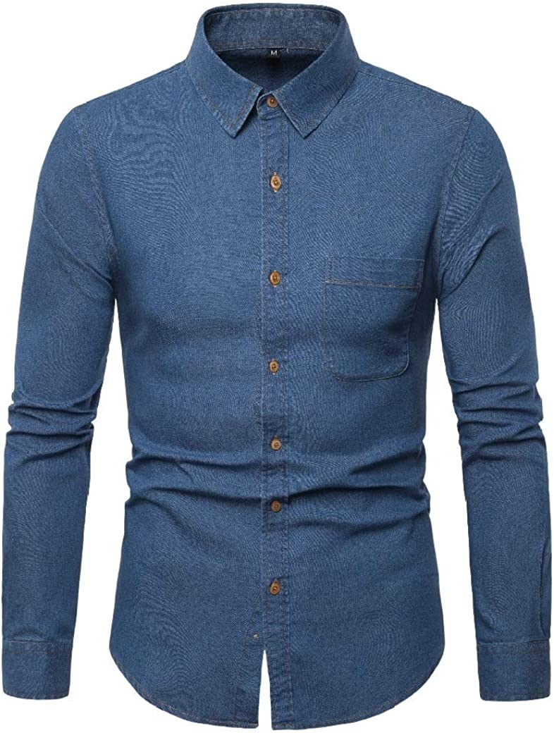 Comaba Men Plus-Size Bussiness Long-Sleeve Square Collar Denim Shirt